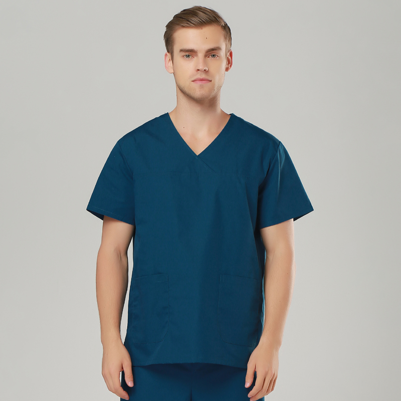 2018 New Short Sleeved Men And Women Suits Blue Surgical Gowns Clothesbrush Hand Clothes Nurse Doctor Cotton