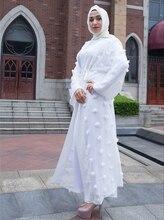 Liffle Fur Appliques Cardigan Muslim Abaya Women Islamic Dresses Long Robes