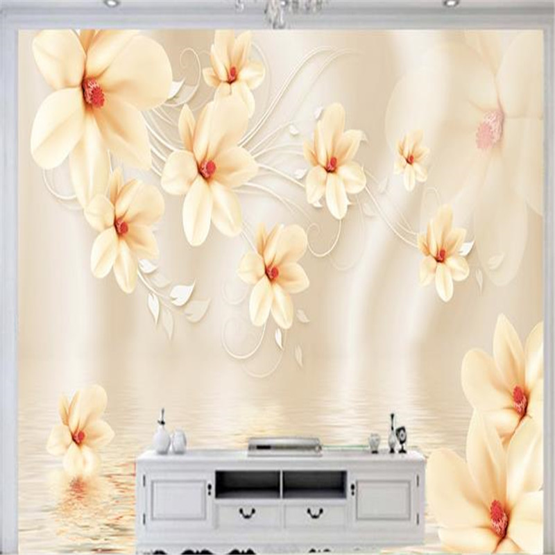 3D Custom Photo Wallpapers Art Murals Painting Flowers Cameo Florals Wallpapers Living Room TV Background Wall Papers Home Decor custom photo size wallpapers 3d murals for living room tv home decor walls papers nature landscape painting non woven wallpapers