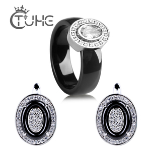 Image 1 - Egg Shape U Shaped Stud Earrings Big Carat Rings Jewelry Set Black White Ceramic Jewelry Set Wedding For Women Size 6 9