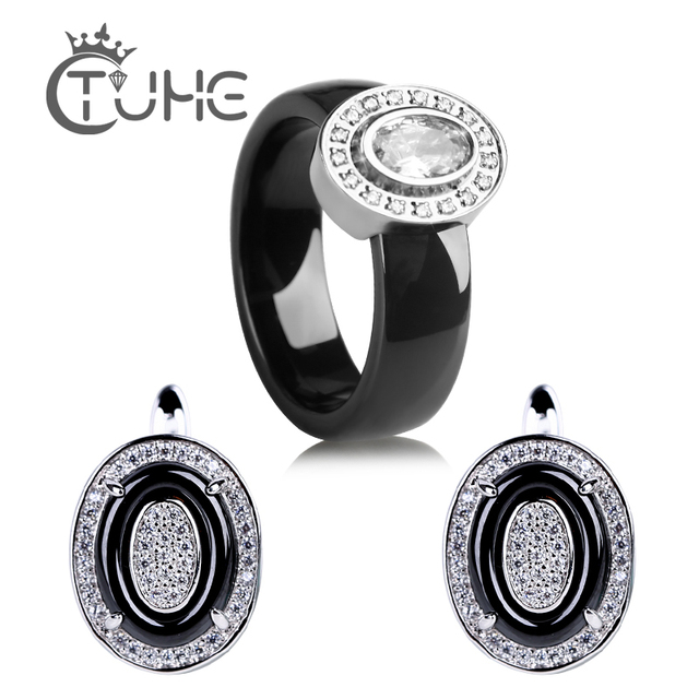 Egg Shape U Shaped Stud Earrings Big Carat Rings Jewelry Set Black White Ceramic Jewelry Set Wedding For Women Size 6 9