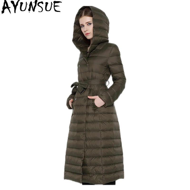 AYUNSUE легкий пуховик для женщин с капюшоном зимнее длинное пальто для женщин двубортное с поясом куртки парка Casacas Para Mujer KJ414