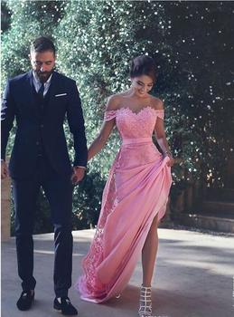 New Arrival Pink Satin Straight Evening Dresses Long 2019 Sweetheart Appliques Lace Off Shoulder Sweep Train Formal Party Gowns 2