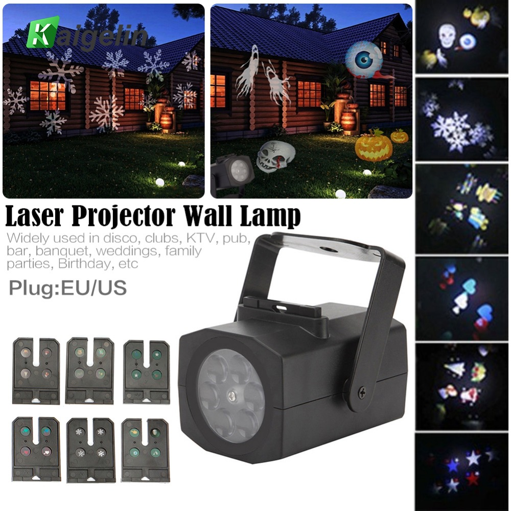 NEW Christmas Snow Laser Projector Outdoor LED Fairy Light Projection 6 Film Cards Holidays Wedding Christmas