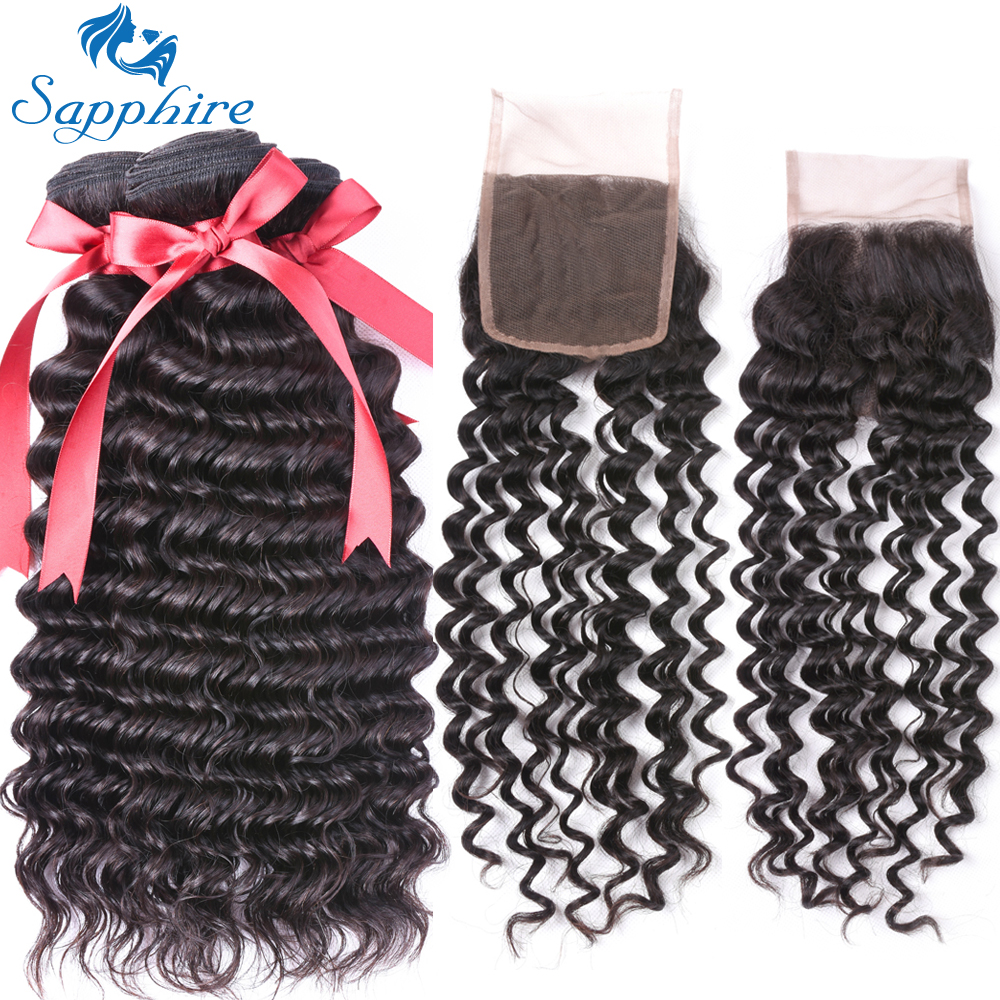 Sapphire Hair Peruvian Deep Wave Bundles 3 Bundles With Free Part Closure For Hair Salon High