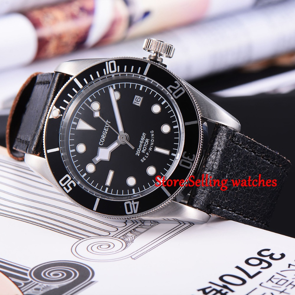 41mm corgeut Sapphire Glass 21 jewels miyota Automatic 20ATM mens diving Watch  41mm corgeut black dial red bezel 21 jewels miyota automatic diving mens watch