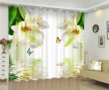 Flowers print Luxury Blackout 3D Window Curtains For Living Room Bedroom white flower lily curtains for girls room(China)