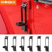 SHINEKA Chromium Styling For Jeep Wrangler JK 2007 2017 Car Door Hinges Climbing Kit Foot Rest Pedal Peg For Jeep Wrangler JK
