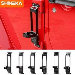 SHINEKA Chromium Styling dla Jeep Wrangler JK 2007-2017 zawiasy w drzwiach samochodowych zestaw wspinaczkowy samochodowa podpórka pod nogę Peg dla Jeep Wrangler JK