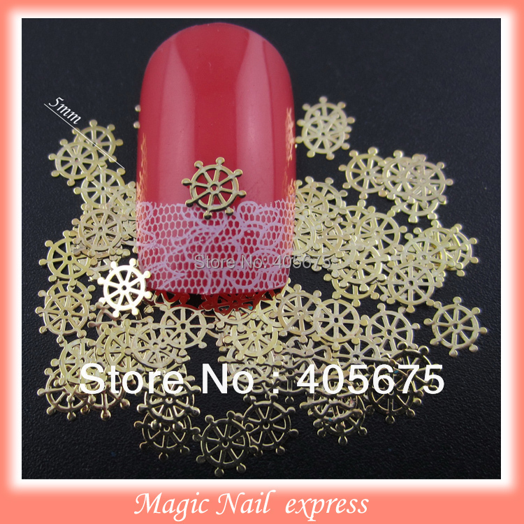 1000pcs/pack Gold nil art rudder shape metallic nail decoration DIY slices beauty nail tips decal spangles 10pcs pack 2mm mix colors rolls metallic adhesive striping tape wide line diy nail art tips strip sticker decal decoration kit