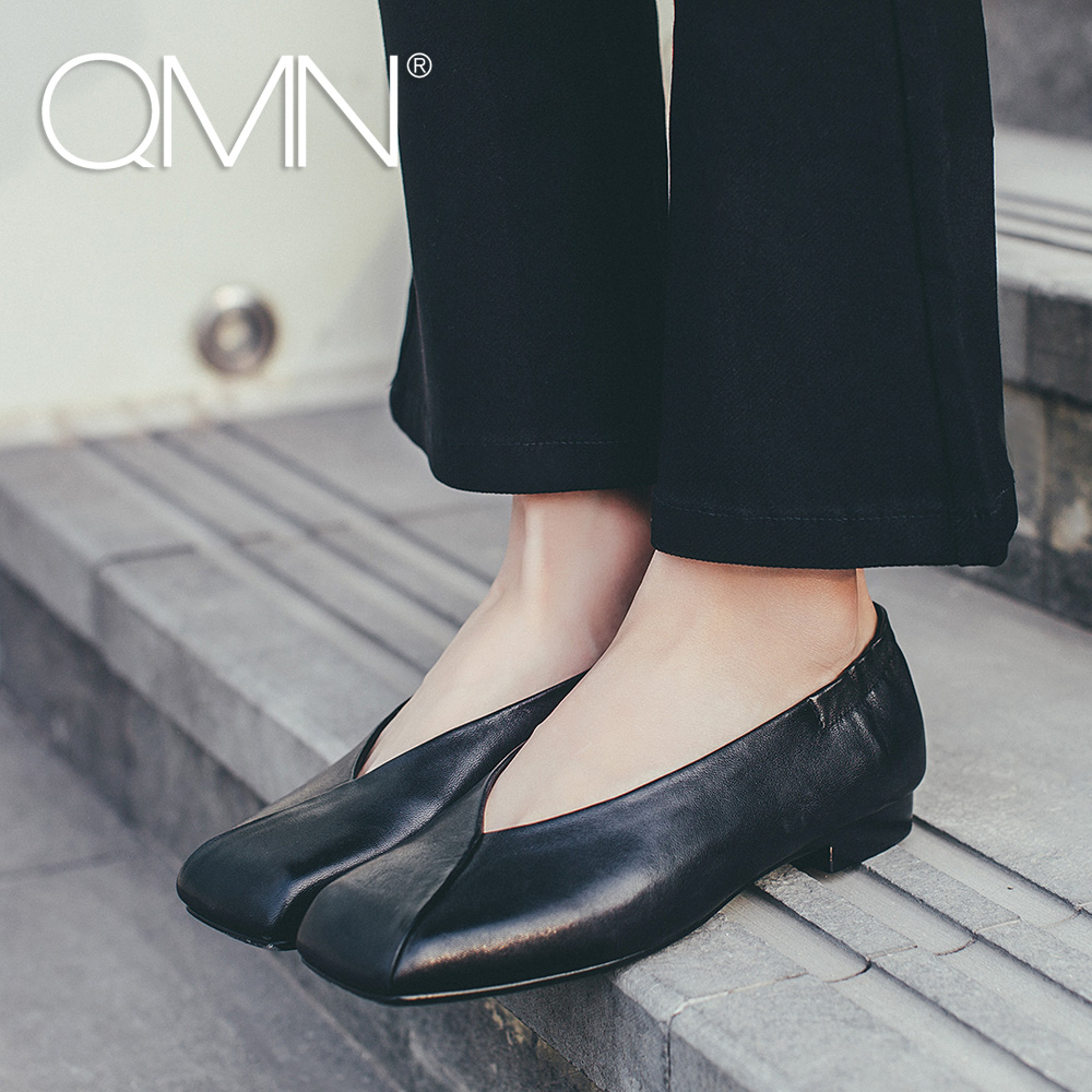 QMN women genuine leather ballt flats Women Sheepskin Slip On Square Toe Monk Shoes Woman Retro Rome Style Shallow Flats  qmn women genuine leather flats women horsehair loafers retro square toe slip on flat platform shoes woman creepers 34 42