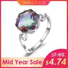 JewelryPalace 3.2ct Genuine Rainbow Fire Mystic Topaz Quartz Ring 925 Sterling Silver Rings Gemstone Ring Fine Jewelry For Women(China)
