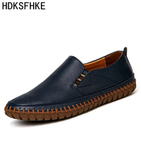 Big Size Men Genuine Leather Shoes Slip On Black Shoes Real Leather Loafers Mens Moccasins Shoes