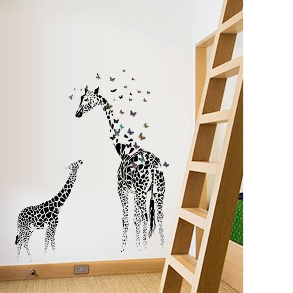 Большой жираф стены Стикеры Съемные Виниловые Наклейки на стены дикий Животные бабочка черный для дома Гостиная украшения де Parede