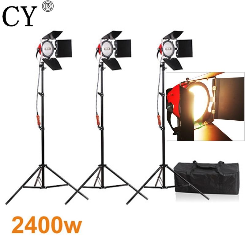 CY фотостудия непрерывное освещение Наборы 800 Вт видео рыжие непрерывный свет * 3 с 200 см Свет Стенд * 3 фотостудия Set