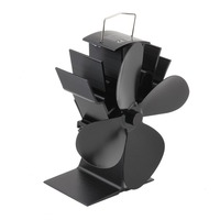 4 Blades Black Heat Powered Stove Fan Fuel Saving Stove Fan For Wood Burner Fireplace Eco