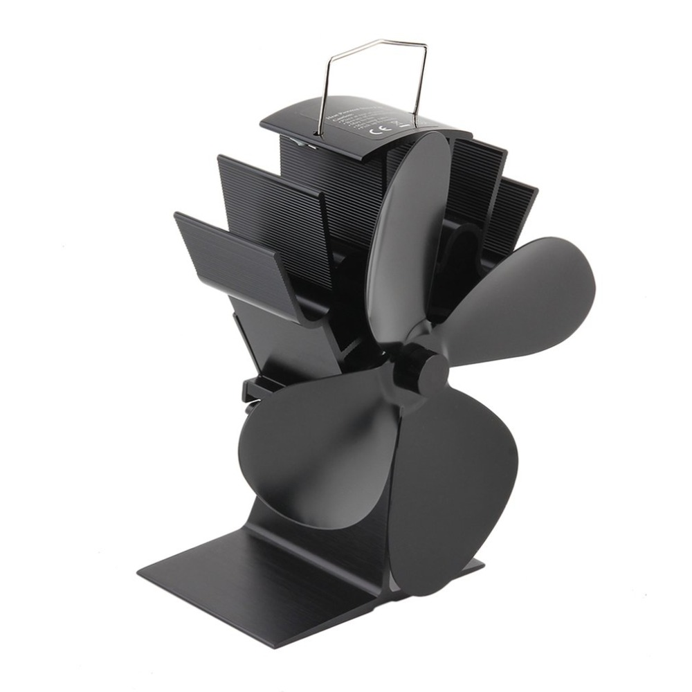 4 Blades Black Heat Powered Stove Fan Fuel Saving Stove Fan for Wood Burner/ Fireplace-Eco Friendly fan set air extractor free shipping cheap heat powered stove fan in black gold silver coppery blade