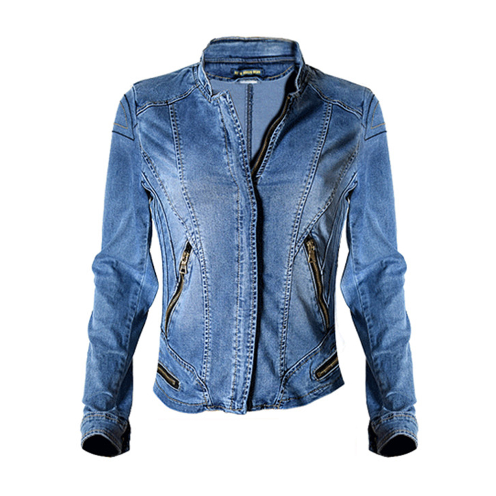 c931ddc10c76b5 Dreamskull Womens Stand Collar Coat Moto Stretch Denim Jacket-in Basic  Jackets from Women s Clothing on Aliexpress.com