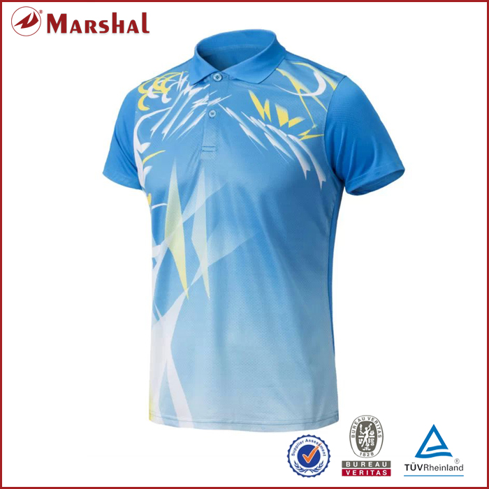 Sublimation Custom Badminton,table tennis Jersey tops,Dry fit,100%polyester Short-sleeve wholesale