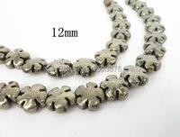 15.5 polegadas / brin de naturel Pyrite sculpté forme de fleur perles bijoux, Hématite collier pendentif, Différentes tailles