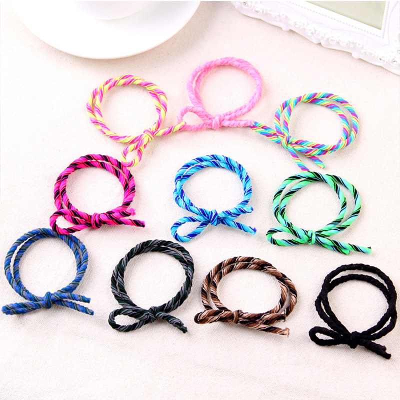 New Korean Crude Rubber Band Striped Colorful Girl Elastic Hair Bands Handmade Tie Knot Bow Hair Rope Hair Accessories For Women women 10pcs velvet hair band elastic ponytail tie headwear bow rubber bobbles soft solid elastic hair accessories for girl new