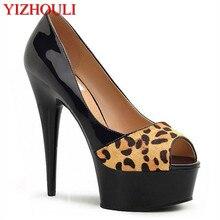 26e5950617a95e 6 zoll Sexy leopard print high heels Mit Plattform Kristall schuhe 15 cm  dame Exotic Dancer schuhe peep toe sexy schuhe