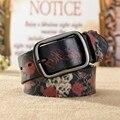2016 nova moda estilo de impressão cintos para as mulheres mulher cinto de couro genuíno de alta qualidade luxury designer Cowskin cinta feminina 110 CM