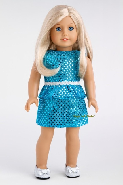 am169 free shipping american girl doll dress 100pcs blue sequin
