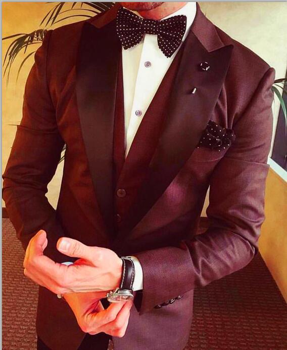 2017 Latest Coat Pant Design Burgundy Groom Men Suits Slim Fit 3 Piece Tuxedo Custom Blazer Prom Suit Masculino Jacket+Pant+Vest