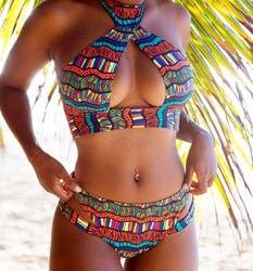 Сексуальный винтажный Женский комплект бикини с принтом, пляжный купальник, 2 шт., бразильские открытые купальники, летние купальные костюм... 4
