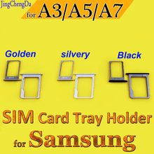 Dual SIM Golden/silver/Black Card Slot Tray Adapter Replacement Parts For Samsung Galaxy A3 A5 A7 2015 Sim Card Slot Holder(China)