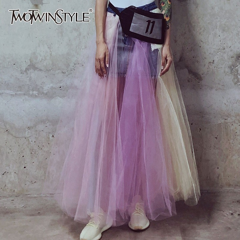 TWOTWINSTYLE Mesh Patchwork Long Denim Skirt For Women High Waist Hit Color Skirts Female Fashion 2019