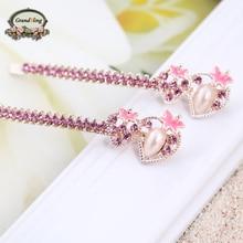 Hot Trendy Elegant Strawberry Hairpins For Women Girls Bling Headwear Crystal Rhinestone Pearl Barrette Hair Jewelry