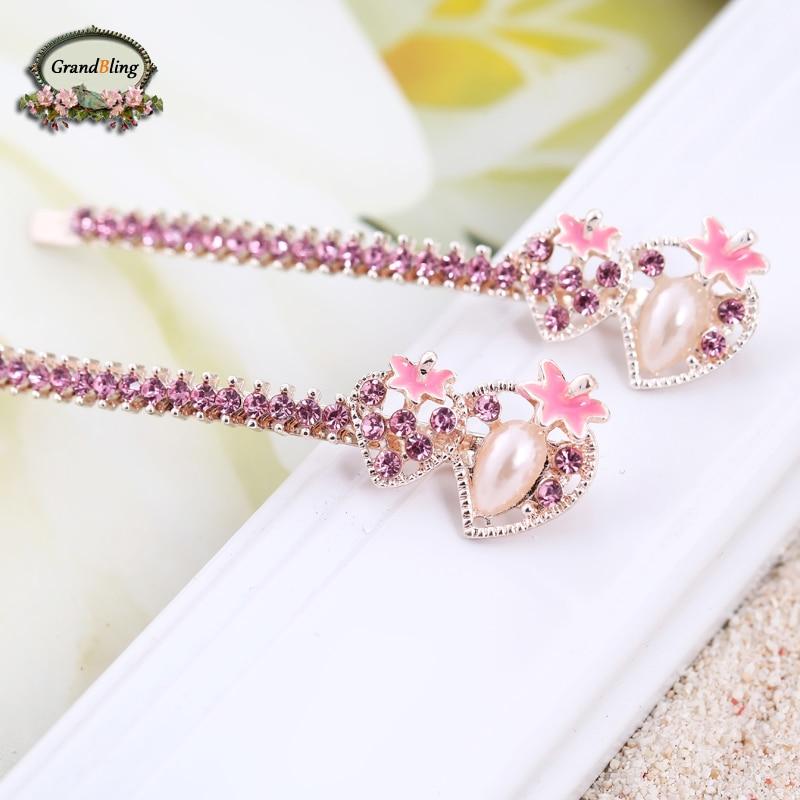Hot Trendy Elegant Strawberry Hairpins For font b Women b font Girls Bling Headwear Crystal Rhinestone