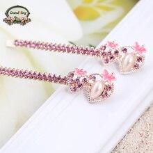 Hot Trendy Elegant Strawberry Hairpins For Women Girls Bling Headwear Crystal Rhinestone Pearl Barrette Hair Jewelry Accessories