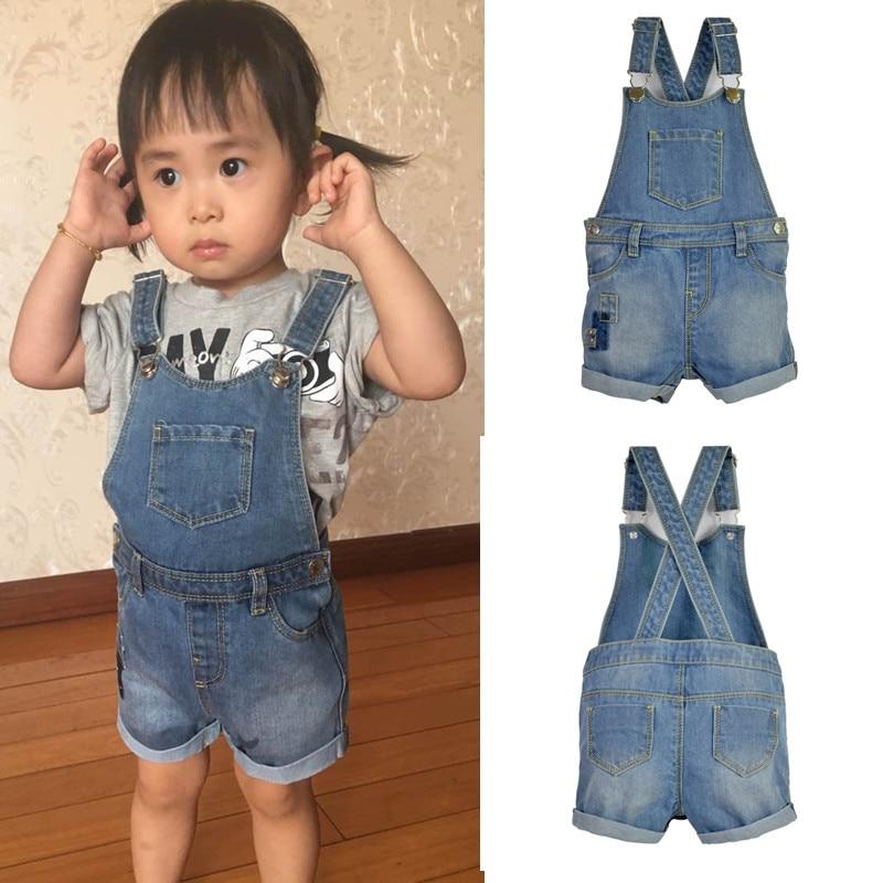 1295618d4663 Infant Toddler Boy Girl Denim Jeans Shorts Jumpsuit Suspender Kids Rompers  playsuit Pocket Straps Patchwork Outfit Child Clothes-in Shorts from Mother  ...