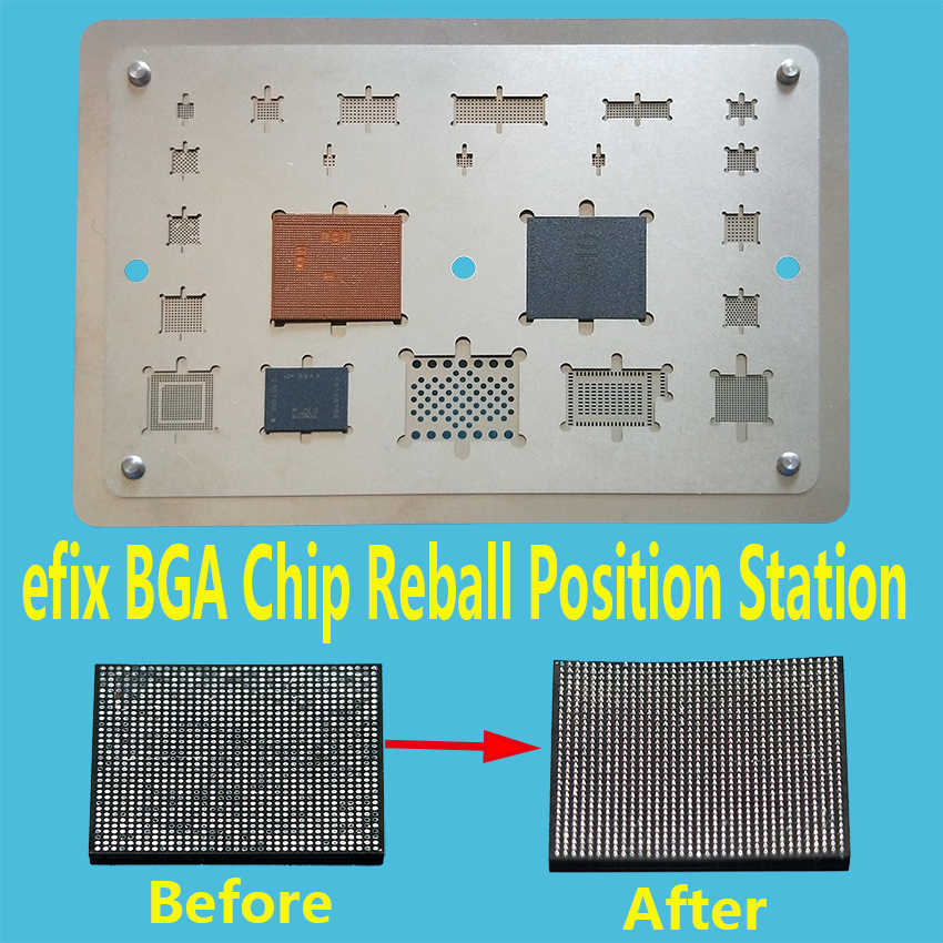 efix BGA Chip IC Reballing Stencils Heat Hot Air Gun Soldering Station SMD Heating Blower Rework Tool Repair for iPhone NAND CPU repair platform hot air gun clamp stand for bga rework reballing station