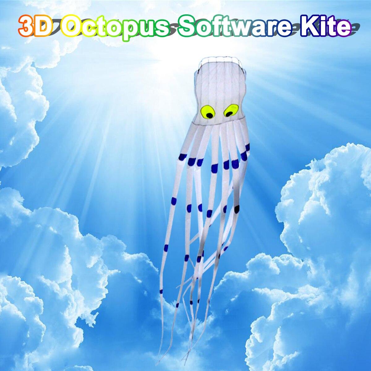 3D pieuvre Nylon cerf-volant Sport de plein air 8 M logiciel de vol longue queue cerfs-volants jouets énorme cerf-volant pour enfants enfants - 4