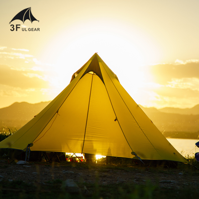 3F UL TEEPEE Pyramid Ultralight Tent 2-3 Person 15d Hiking Tents 2
