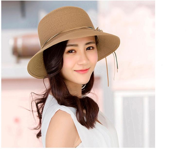 HTB1sSpzov2H8KJjy1zkq6xr7pXax - 2018 Summer New Solid Floppy Straw Hats For Women Flower Accessories ladies Summer Beach Sun Caps Panama Style Hat