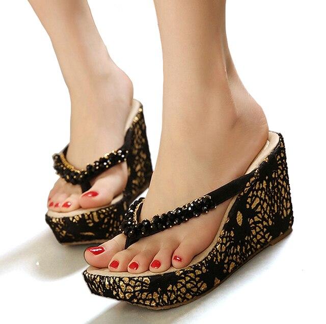 79d853dda Mulheres sandália plataforma sapato wedge flip flops sandálias chaussure  femme verão férias na praia sapatos sandálias