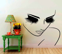 Vinyl Beauty Salon Người Phụ Nữ Làm Tóc Art Hair WallDecals Salon Pretty Face Closeup Đôi Mắt To Dài Lashes Room Decor Tường MuralY-904