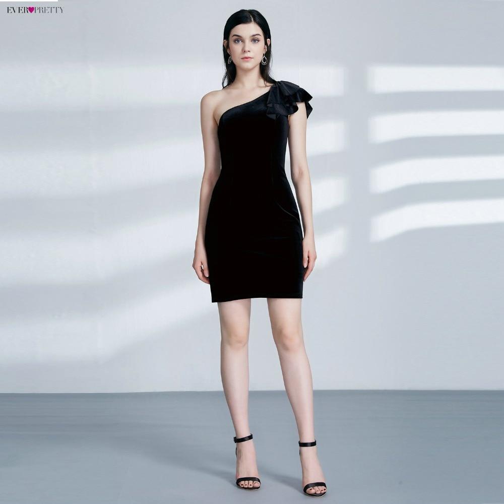 Ever Pretty EP04091 Новое поступление сексуальные черные бархатные вечерние платья с одним плечом 2019 Короткие вечерние платья