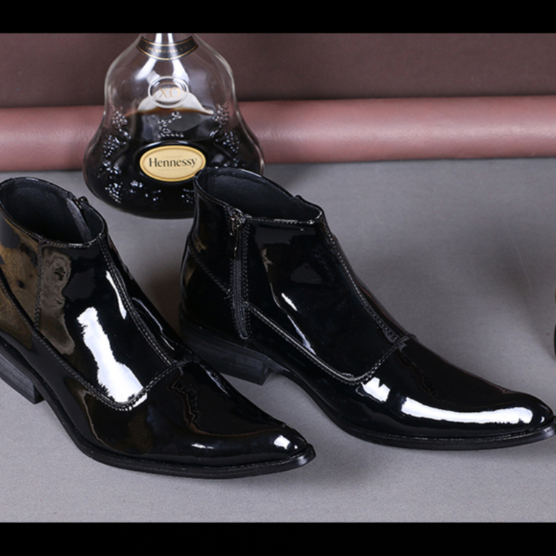 Fashion Pointed Toe Men Ankle Boots Male Black Patent Leather Zipper Dress Boots Winter Cowboy Boots Italian