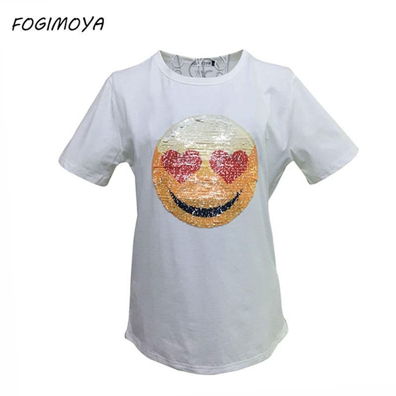 FOGIMOYA T Shirt Women Summer Fashion 2018 Sequined Top Women s Short  Sleeve White T Shirts Changable Face Emoji Top Couples Tee-in T-Shirts from  Women s ... 31fe9eb69274