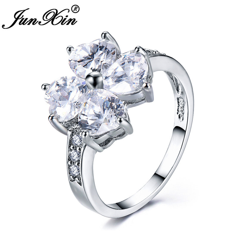 2019 Junxin Shining White Stone Heart Clover Rings For Women Silver