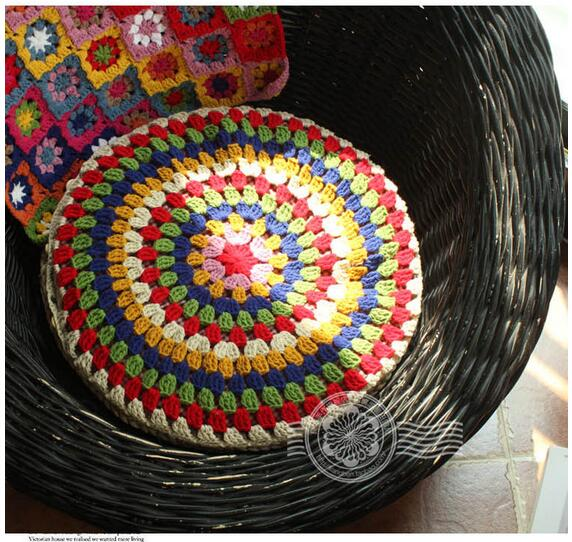 hot hand crochet round cushion futon cushion chair cushion pastoral colorful yoga pads without the core