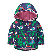 Girls Boys Jacket Coat Bird Printed for Child Windbreaker Jacket Cotton Micro fleece LWarm Jackets Kids Casual Hooded Coat