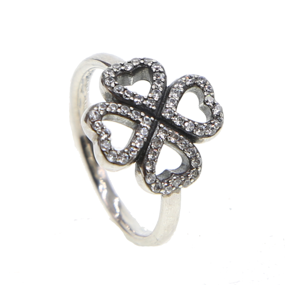 100% Authentic Antique 925 Sterling Silver Rings With AAA Zirconia lucky four clover girl Women Rings Aliexpress Hot Selling