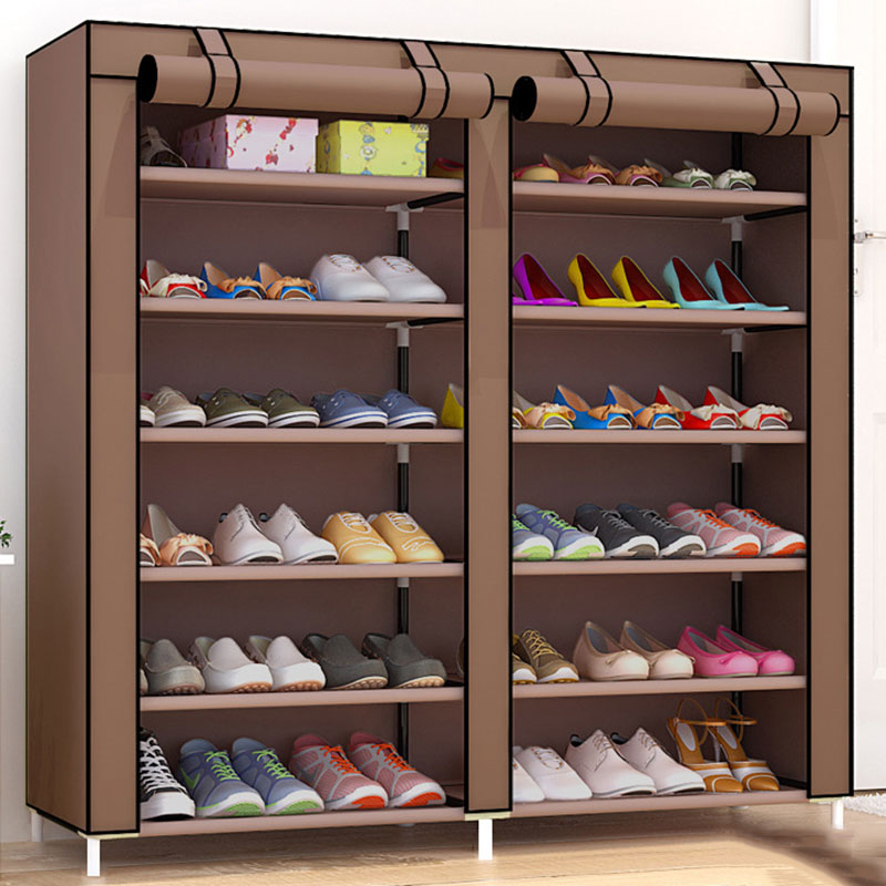 Large Capacity Shoes Storage Cabinet Double Rows Shoes Organizer Rack Home Furniture DIY Dust-proof Shoes Shelves Space Saver